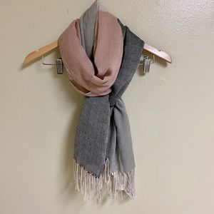H&M Acrylic Color Block Pink & Gray Fringe Scarf